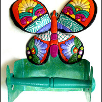 Butterfly Toilet Paper Holder - Painted Metal Bathroom Decor
