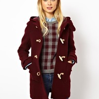 Jack Wills Wool Duffle Coat With Check Lining