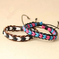 couple bracelet 2 color real leather cotton ropes woven bracelet,Christmas gift T084