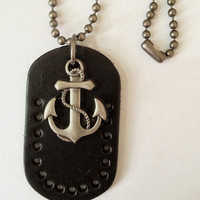 metal chain necklace anchor pendant men leather long necklace, women metalwork necklace T088