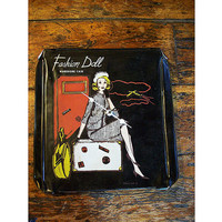 fashion doll pin up clock recycled retro vintage 1950's toy doll case rockabilly kitsch
