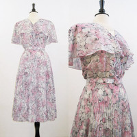 Dress Vintage 70s 80s  Watercolor Floral Spring Secretary Day Dress L XL Plus Size