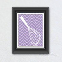 Kitchen Print, Whisk It Good, Chevron Pattern, Kitchen Decor, Digital Art, Your Choice of Any Background