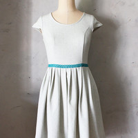 SAGE BOUQUET - Heather mint green linen dress with pockets // teal lace belt bow // pleated skirt // bridesmaid dress // vintage inspired