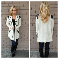 Cream Trim Thick Knit Cardigan