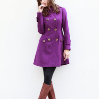 Purple Jacket Hooded Coat Double breasted Hoodie Wool Coat Winter Jacket - Custom Made - NC423