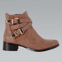 Mocha Faux Leather Double Buckle Ankle Boots