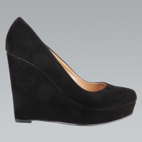 Black Faux Suede High Heeled Wedges