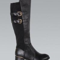 Black Faux Leather Riding Boots with Double Buckle Detail