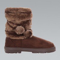 Brown Faux Fur Tie Up Winter Boots