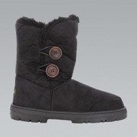 Black Faux Suede Double Button Winter Boots