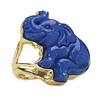 14K Over Sterling Carved Lapis Elephant Ring       - Earrings, Necklaces, Rings, Bracelets, Pendants and More :: Unique Jewelry at Affordable Prices | Natures Jewelry