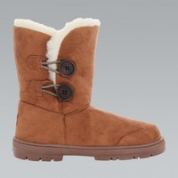 Brown Faux Suede Double Button Winter Boots