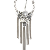 Faceted Stone Fringe Necklace