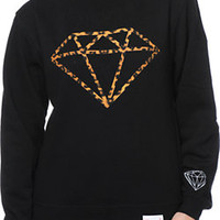 Diamond Supply Girls Leopard Rock Black Crew Neck Sweatshirt