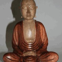 Hand-Carved Wooden Buddha  - BUDDHIST WOOD CARVINGS