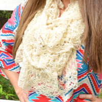 Love For Crotchet Scarf: Off White
