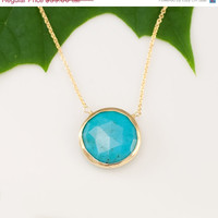 ON SALE - Turquoise Necklace - 14k Gold Filled Chain - bezel set necklace - gemstone necklace - Gold necklace -