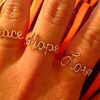 Gold Peace Love and Hope Rings LePooke&#x27;s Special by WireNameMike