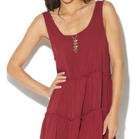 Tiered Low V-Back Babydoll Tank