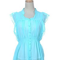Anna-Kaci Free Size Electric Blue High Waist Classy Lacey Shoulder Button Shirt