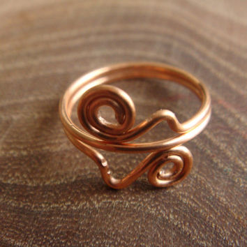 Handmade Double Wave and Swirl Copper Wire Midi Ring / Knuckle Ring