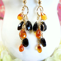 Reserved for Yvonne - SF Giants inspired orange sapphire quartz tear drop black spinel pear drop gold filled chandelier earrings