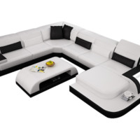 Waves Contemporary Leather Sectional by Scene Furniture | Opulentitems.com - Opulentitems.com
