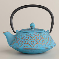 Turquoise Scalloped Teakettle