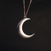 Charm necklace,silver plated matte crescent moon necklace ---N065