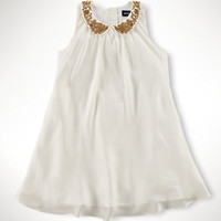 Beaded-Collar Swing Dress