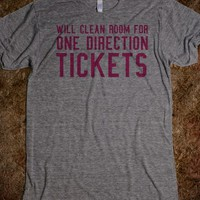 Funny 'Will Clean Room for One Direction Tickets' One Direction-Inspired T-Shirt