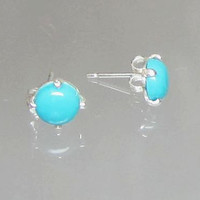 Sleeping Beauty Turquoise 6mm Cabochon Sterling Silver Ear Stud Post Earrings Genuine Turquoise