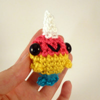 Color Block Baby Narwhal - Cyan, Yellow, Magenta - CMYK - Ready to Ship - Amigurumi Crochet Plushie