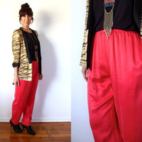 Coral Silk Slouchy Pants High Waist Hot Pink Orange Trousers