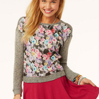 Print Chiffon Sweaterknit Long-Sleeve