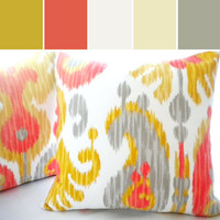 Orange Ikat pillow cover, FABRIC BOTH SIDES Multi color Ikat pillow cover, available all sizes, yellow pillow cover