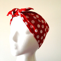 Rosie the riveter We can do it Wide head wrap Rockabilly head band Red Pinup headband Polka dots head band Retro Dolly Bow