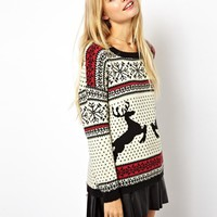 ASOS Christmas Jumper in Reindeer Fairisle