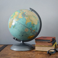 Vintage World Globe - Lithograph Globe - Office Decor - School Globe - Rustic Home Decor - Spinning Globe - Post War - Mid Century Globe