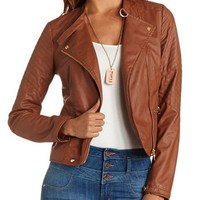 Stitched Shoulder Motorcycle Jacket: Charlotte Russe