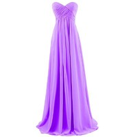 Dresstells Sweetheart Bridesmaid Chiffon Prom Dresses Long Evening Gowns for Juniors Size 2 Purple