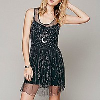 Intimately Womens Starry Night Slip - Black Motif,