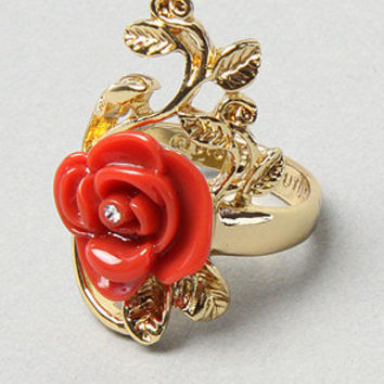 Karmaloop.com - Global Concrete Culture - The Rose Size Ring in Red & Gold by Disney Couture Jewelry