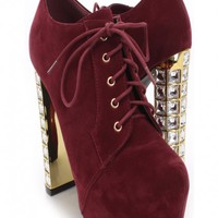 Burgundy Smooth Velvet Lace Up Ankle Booties