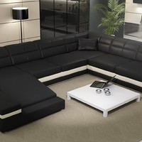 Large Leather Sectional, Black Large Leather Sofa - Opulentitems.com