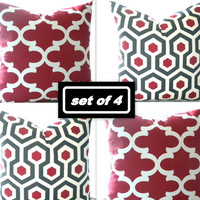 Christmas pillow cover set, FABRIC BOTH SIDES, red geometric pillow cover, many sizes available