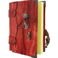 Cat Cast On A Red Leather Journal / Notebook / Diary / Sketchbook / Leatherbound