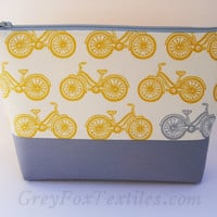 Mustard yellow and gray bicycle makeup bag, cosmetic case, pencil case, clutch, gadget bag, accessory tote, travel toiletry