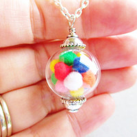 Gumball Machine Glass Orb Necklace In Silver